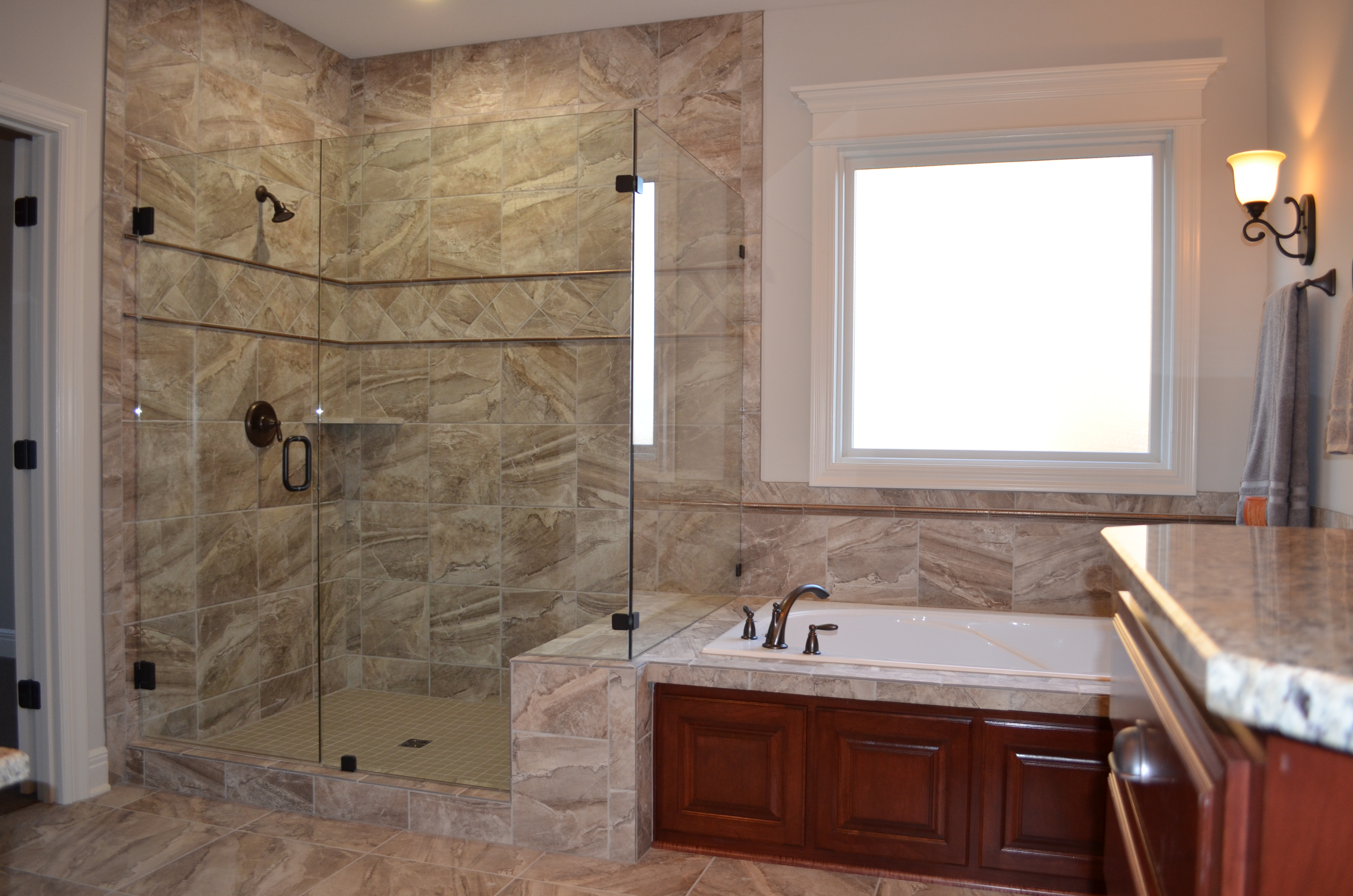 Sweetwater Creek New Homes in Spring Hill, KS Master Bathroom with Tiled Shower