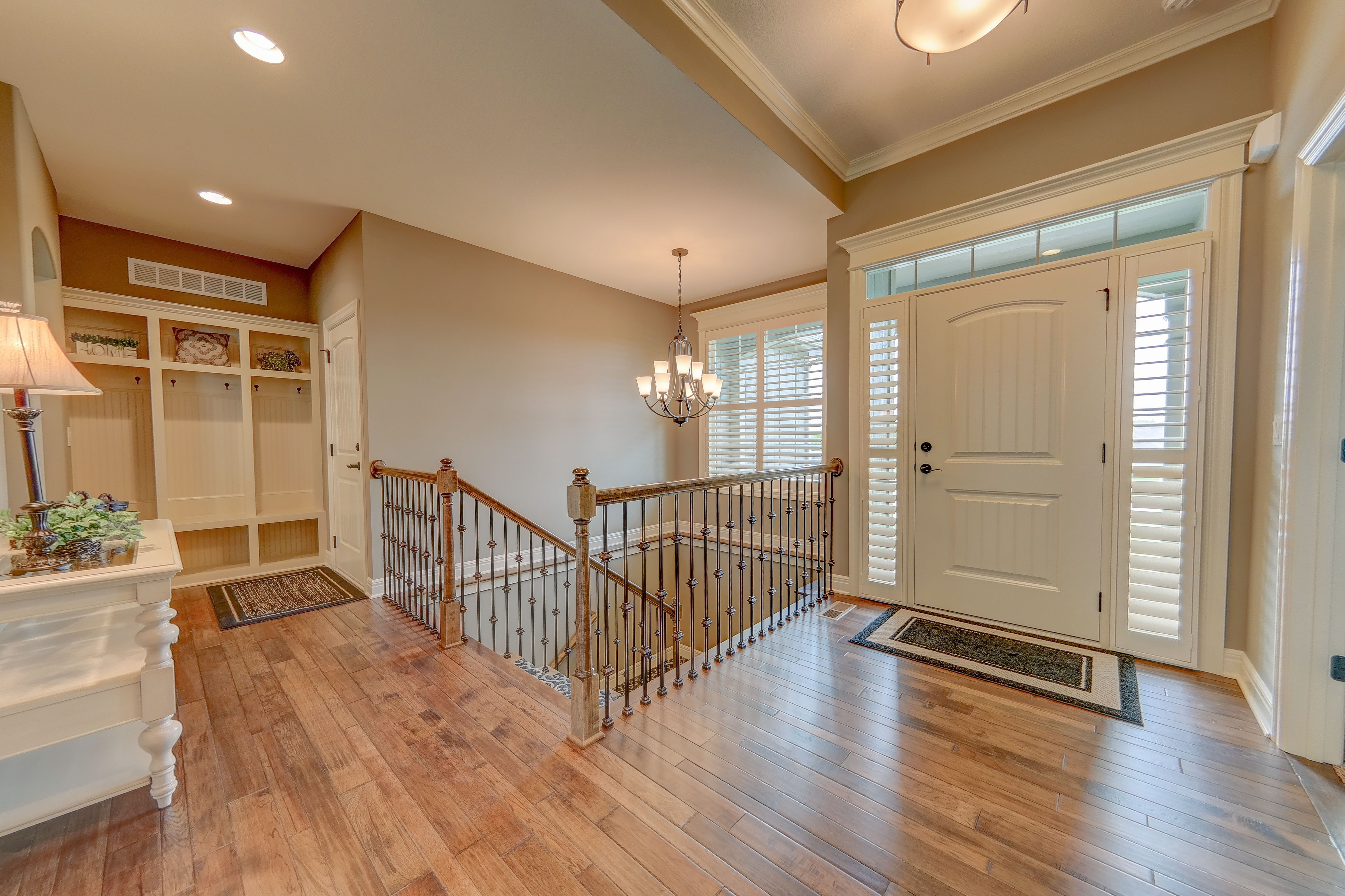 Sweetwater Creek New Homes in Spring Hill, KS Stairway with Boot Bench