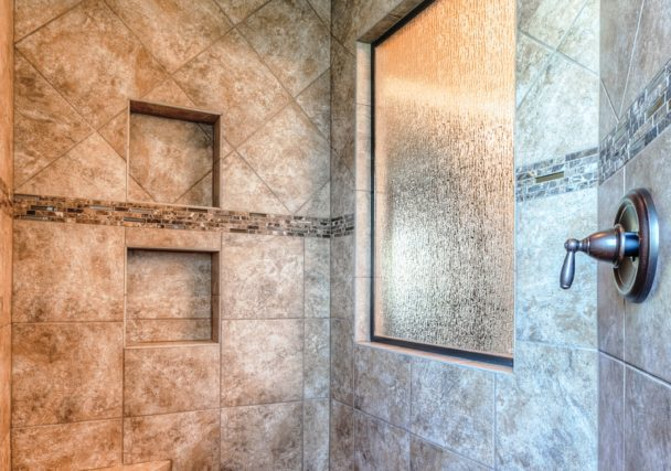 Sweetwater Creek New Homes in Spring Hill, KS Master Shower with Decorative Tile